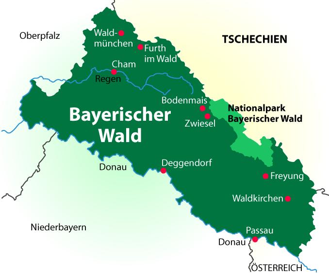 Nationalpark Bayerischer Wald Karte.Touristisch Attraktive Städte Und Ortschaften Im Bayerischen Wald